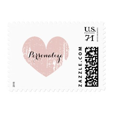 Valentines Themed Coral vintage rustic heart 70 cent wedding stamps