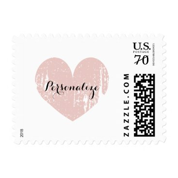 Beach Themed Coral vintage rustic heart 70 cent wedding stamps