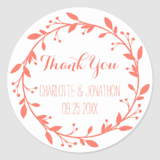 Coral Vintage Thank You Wedding Favor Tags Classic Round Sticker