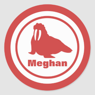 Coral Walrus with Name Classic Round Sticker