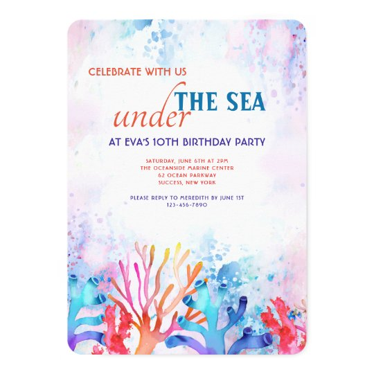 Coral Watercolor Birthday Party Invitation