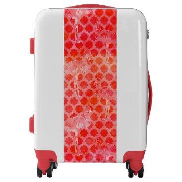 Coral Watercolor Flamingo Moroccan Luggage
