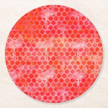 Coral Watercolor Flamingo Moroccan Round Paper Coaster