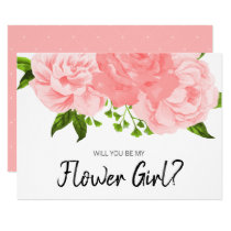 Coral Watercolor Floral Be My Flower Girl Card