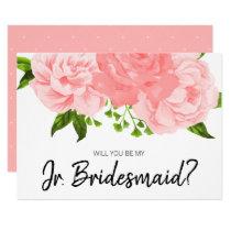 Coral Watercolor Floral Be My Jr. Bridesmaid Card