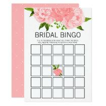 Coral Watercolor Floral Bridal Shower Bingo Game Card