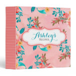 Coral Watercolor Floral Personalized Recipe Girly Binder