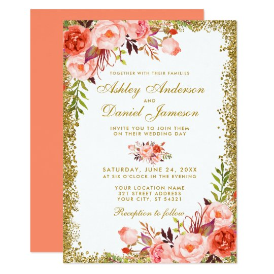 Coral And White Wedding Invitations: Coral Watercolor Floral Wedding Gold Glitter Invitation