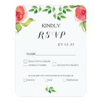coral watercolor flowers wedding RSVP cards