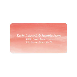 Coral Watercolor Ombre Address Label