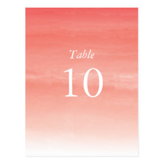 Coral Watercolor Ombre Table Numbers Postcard