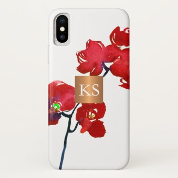 Professional Business Coral watercolor orchid metallic copper monogram iPhone x case