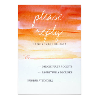 Coral Watercolor Romantic Wedding Reply Cards