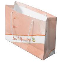 Coral Watercolor Seas & Greetings Anchor & Stars Large Gift Bag