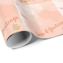 Coral Watercolor Seas & Greetings Anchor & Stars Wrapping Paper