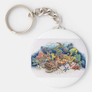 Coral Waters With Tropical Fish Keychain