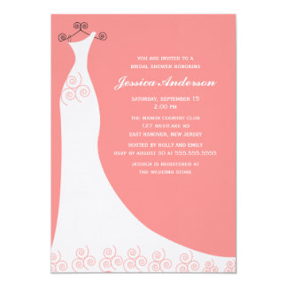 Coral Wedding Gown Bridal Shower Personalized Invitations