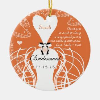 Coral Wedding Gown Bridesmaid Wedding Christmas Ceramic Ornament