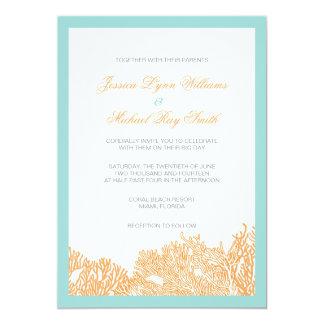 Coral Wedding Invitation For Seaside Wedding