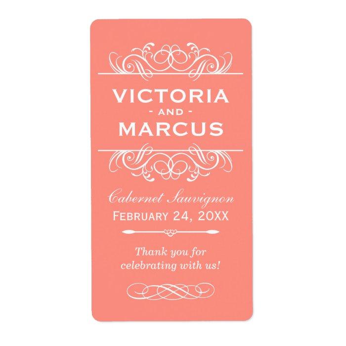 Coral Wedding Wine Bottle Monogram Favor Labels