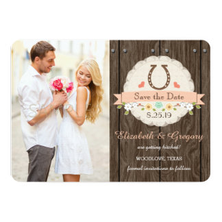 Coral Western Horseshoe Save the Date Card