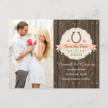 Coral Western Horseshoe Save the Date Postcard