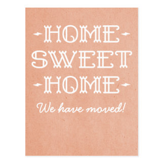 Coral Whimsical Home Sweet Home Postcard