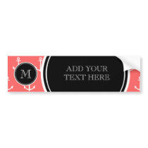 Coral White Anchors Pattern, Black Monogram Bumper Sticker