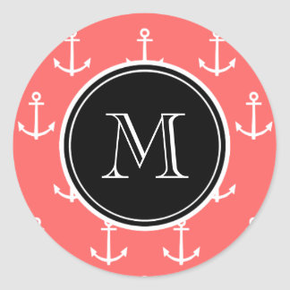 Coral White Anchors Pattern, Black Monogram Classic Round Sticker