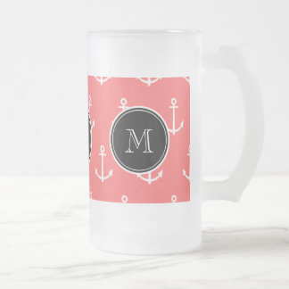Coral White Anchors Pattern, Black Monogram Frosted Glass Beer Mug