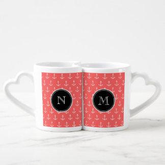 Coral White Anchors Pattern, Black Monogram Couple Mugs
