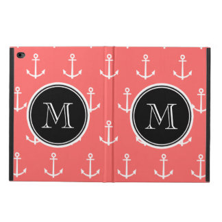 Coral White Anchors Pattern, Black Monogram Powis iPad Air 2 Case