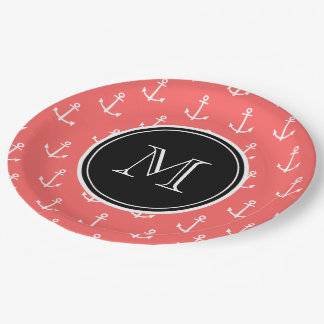 Coral White Anchors Pattern, Black Monogram 9 Inch Paper Plate