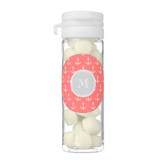 Coral White Anchors Pattern, Gary Monogram Chewing Gum Favors