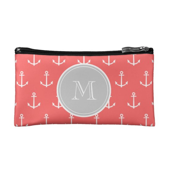 Coral White Anchors Pattern, Gary Monogram Makeup Bag