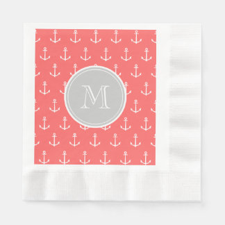 Coral White Anchors Pattern, Gary Monogram Coined Luncheon Napkin