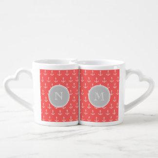Coral White Anchors Pattern, Gray Monogram Lovers Mug Sets