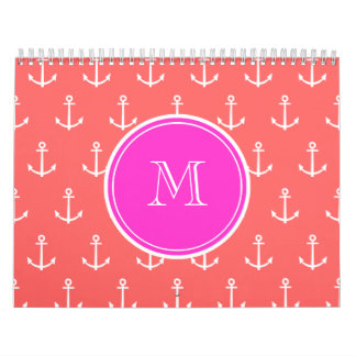 Coral White Anchors Pattern, Hot Pink Monogram Calendar