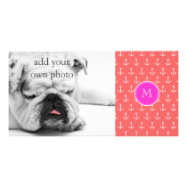 Coral White Anchors Pattern, Hot Pink Monogram Card