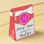 Coral White Anchors Pattern, Hot Pink Monogram Party Favor Box