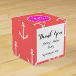 Coral White Anchors Pattern, Hot Pink Monogram Party Favor Boxes