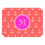 Coral White Anchors Pattern, Hot Pink Monogram 5x7 Paper Invitation Card