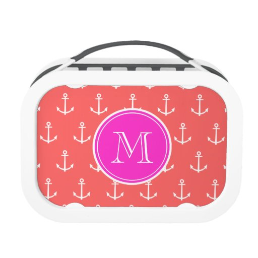 Coral White Anchors Pattern, Hot Pink Monogram Yubo Lunch Boxes