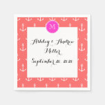 Coral White Anchors Pattern, Hot Pink Monogram Disposable Napkin