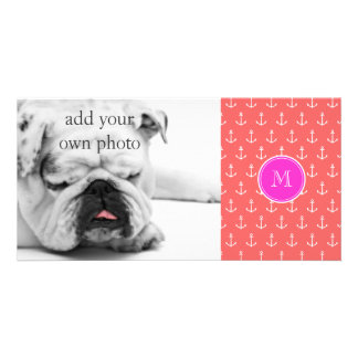 Coral White Anchors Pattern, Hot Pink Monogram Photo Card