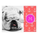 Coral White Anchors Pattern, Hot Pink Monogram Postcard
