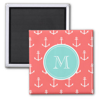 Coral White Anchors Pattern, Mint Green Monogram 2 Inch Square Magnet