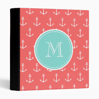 Coral White Anchors Pattern Mint Green Monogram Binder