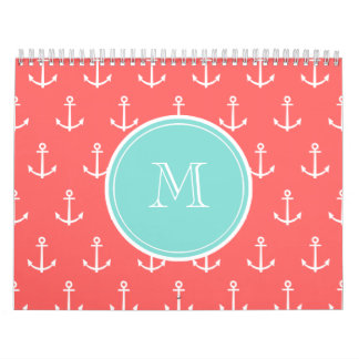 Coral White Anchors Pattern, Mint Green Monogram Calendars