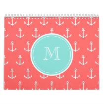 Coral White Anchors Pattern, Mint Green Monogram Calendar